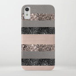 Blush Glitter Glam Stripes #1 #shiny #decor #art #society6 iPhone Case