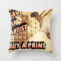 shameless Throw Pillows featuring Shameless Self Promotion #1 by VOTE4ZAPHOD