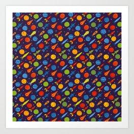 Pattern with rockets Art Print