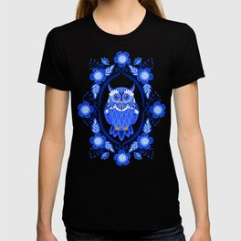 Delft Blue and White Owls and Flowers T-shirt