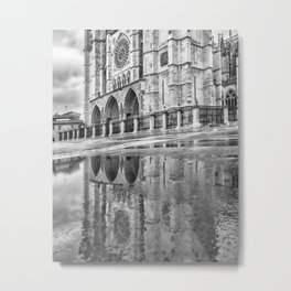 Leon Cathedral Reflection Metal Print