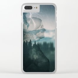 stirred mountains double exposure Clear iPhone Case