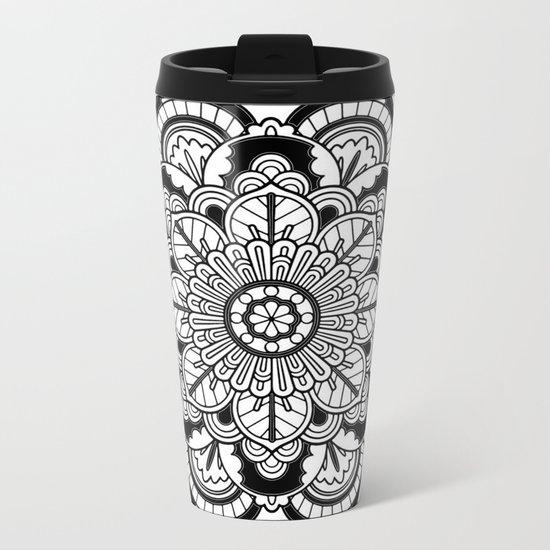 Black and White Flower Metal Travel Mug