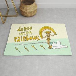 dance with rainbows lady slider // retro surf art by surfy birdy Rug