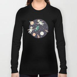 Lunar Spacewalk - Coral + Teal Long Sleeve T-shirt