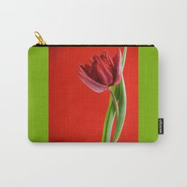 Single red tulip with green leaves Carry-All Pouch