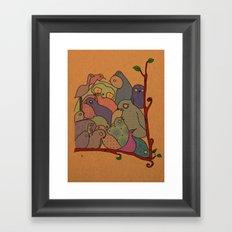A bunch of birds in blue mosaic  Framed Art Print