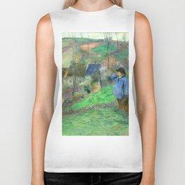 """Paul Gauguin """"Landscape of Brittany - L'Hiver à Pont-Aven, petit Breton et ramasseuse"""" Biker Tank"""