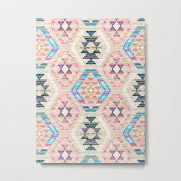 Woven Textured Pastel Kilim Pattern Metal Print