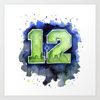 seahawks Art Prints featuring 12th Man Seahawks Seattle Go Hawks Art by Olechka
