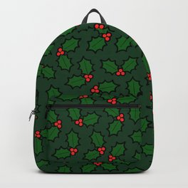 Holly Leaves and Berries Pattern in Dark Green Backpack