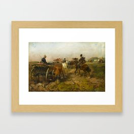 Alfred von Wierusz-Kowalski (Suwalki, Poland c. 1848 - Munich 1915), Cossacks Returning Home on Hors Framed Art Print