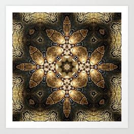 Golden Tribal Abstract Pattern Art Print