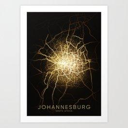 Johannesburg South Africa city night light map Art Print
