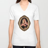 britney V-neck T-shirts featuring Britney Prays by eriicms