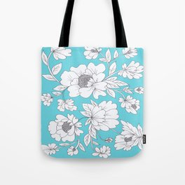 Floral in Turquoise Tote Bag