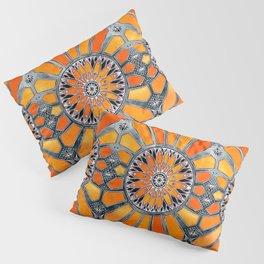 Celebrating the 70's - tangerine orange watercolor on grey Pillow Sham