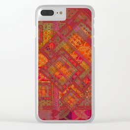 Rose vintage textile patches 02 Clear iPhone Case
