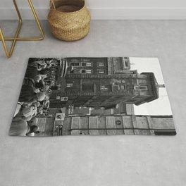 Bussy lively street in Rome, Italy | Black & White Photography | Street Photography | Travel Photography | Photo Print | Art Print Rug
