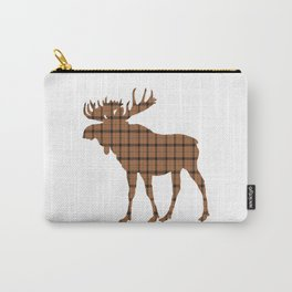 Plaid Moose: Brown Carry-All Pouch