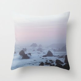 Pink Sunset on Sonoma Coast Throw Pillow