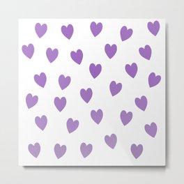 Cute Ascending Purple Hearts Metal Print