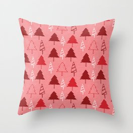 Christmas Tree Red and Pink Throw Pillow