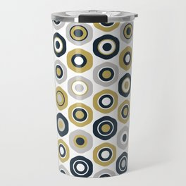 Buttons. Cute Geometric Pattern in Dark Mustard Yellow, Navy Blue, Grey, and White Travel Mug
