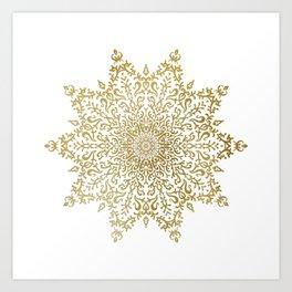 Crinkle Golden Mandala Art Print