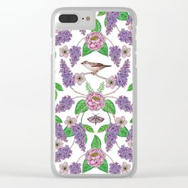 Lilacs, Peonies, Hellebore, & Sparrows - Pink & Purple Flowers w/ Birds & Moths Clear iPhone Case