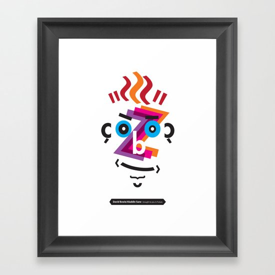 Type Faces No.2: David Bowie as Aladdin Sane brought to you in the typeface: Futura Framed Art Print