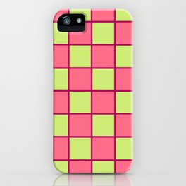 Rose Pink & Pale Green Chex  iPhone Case