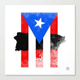 Puerto Rico + Flag Canvas Print