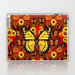 COFFEE BROWN MONARCH BUTTERFLY SUNFLOWERS Laptop & iPad Skin