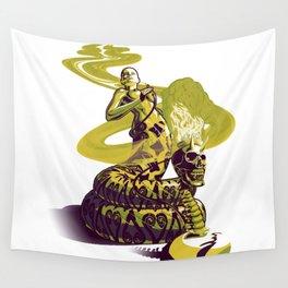 SnakeWoman and Demon-Skull Bong Wall Tapestry