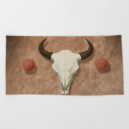 Bison Skull with Rose Rocks Beach Towel