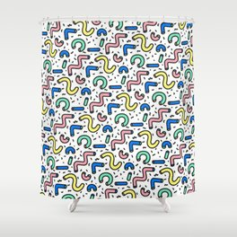 80s - 90s KEITH HARING STYLE SQUIGGLE PATTERN Shower Curtain