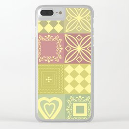 Colorful pink and mustard pattern . Clear iPhone Case