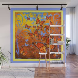 Caramel Browns & Pale Blue  Monarch  Butterflies with Yellow Wall Mural