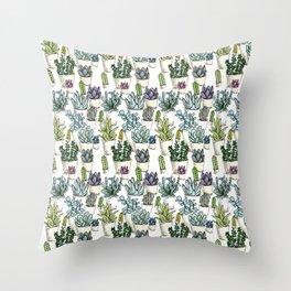 Tiny Cactus Succulents Cacti Throw Pillow