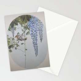 Seitei - Album of Flowers and Birds (1906): Japanese Robin in Wisteria Stationery Cards