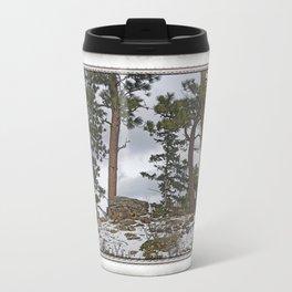 PINES ON ROCKY SNOW Travel Mug