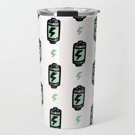 Cute battery cartoon seamless pattern. Travel Mug