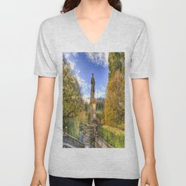 Allan Ramsey And Edinburgh Castle Unisex V-Neck