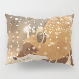 Sneaky smart fox in snowy forest winter snowflakes drawing Pillow Sham