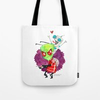 invader zim Tote Bags featuring Invader Zim Hug by Super Group Hugs