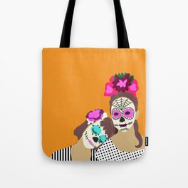 Sugar Skull Halloween Girls Orange Tote Bag