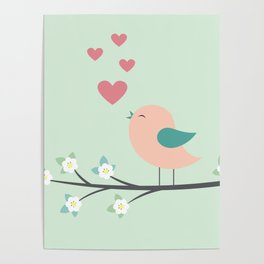 bird on branch turquoise Poster