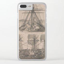 Vintage Historical American Battleship Diagram (1854) Clear iPhone Case