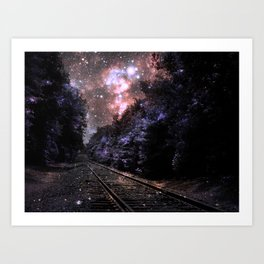 Train Tracks : Next Stop Anywhere Coral Art Print